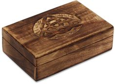 """Bulk Wholesale Jewelry Box in Mango-Wood – 6"""" Hand-Carved Keepsake / Trinket Box with Intricate Abstract Pattern Carving on the Cover – Antique-Look Boxes from India"""