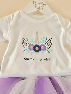 Babies First Christmas Outfit, Newborn, Unicorn Tutu Set, Ready To Post, Purple and Silver, Christmas Party, Present, Cake Smash, Birthday Photoshoot. Who doesnt love a Unicorn? 🦄 This is a gorgeous handcrafted custom set comprising of an exclusive embroidered Unicorn vest and matching