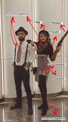 Holloween Costumes For Couples, Funny Couple Halloween Costumes, Classic Halloween Costumes, Halloween Fashion, Halloween Outfits, Best Couples Costumes, Couple Costumes, Bonnie Costume, Bonnie Y Clyde