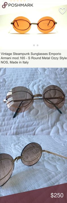 Rare Vintage Steampunk Sunglasses Metal Ozzy Style Rare! Barely worn! Great condition!Vintage Steampunk Sunglasses Emporio Armani mod.165 - S  100% ORIGINAL VINTAGE, NO FAKES  NEW LENS 100% UV. 400  Dimensions   temple length: 130 mm  eye size: 51 mm  nose bridge: 16 mm horizontal width: 128 mm  Sunglasses Round Metal Emporio Armani mod.165 - S Made in Italy Time period: 90's Brand: Emporio Armani  Model: Round Material: Metal Frame colour: Silver Lens color: Orange Emporio Armani…