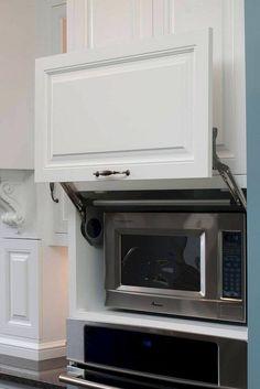 Handsome Hidden Faux Molding Microwave Cupboard