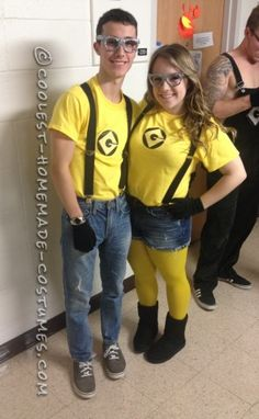 DIY Minions Costume for College Students  sc 1 st  Pinterest & Homemade couples halloween costume. Minions! | Costumes | Pinterest ...
