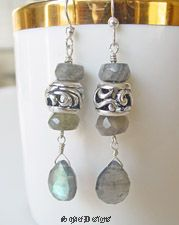 REMINDER:  USE LABRADORITE WITH LARGE HOLE BEADS IN BRACELETS.........Schaef Designs Labradorite and Sterling Silver Pandora Style Bead Dangle Earrings | New Mexico