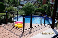 Patio Plus   Patio de Picsine Above Ground Pool Fence, Above Ground Pool Landscaping, Outdoor Landscaping, Backyard Pool Designs, Backyard Play, Patio Plus, Backyard Fireplace, Swimming Pools Backyard, Deck Patio