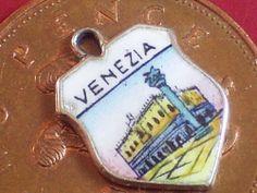 8125 Venezia Vintage Silver Bracelet Charm Enamel Travel Shield | eBay