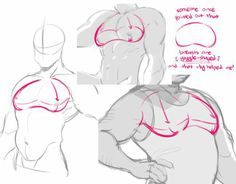 Drawing Tips Chest tutorial Breasts drawing tutorial - How do you draw the man tiddy? I have been struggling drawing them :'> to make this a lil more trans-friendly, just refer to them as pecs! :~D also, I'm going to assume you mean the more muscular. Human Figure Drawing, Figure Drawing Reference, Body Drawing, Anatomy Drawing, Art Reference Poses, Anatomy Reference, Human Anatomy, How To Draw Anatomy, Drawing Techniques
