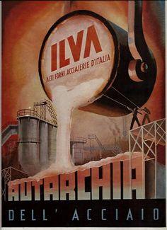 ILVA-altiforni-ACCIAIO-colata-acciaieria-AUTARCHIA-1940 | eBay