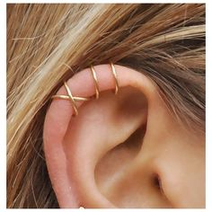 Set of 2 Ear Cuffs, Ear Cuff, No Piercing,Earcuff,Double Ear Cuff and... ❤ liked on Polyvore featuring jewelry, earrings, ear cuff earrings, earring jewelry, artificial jewellery, imitation jewellery and fake jewelry