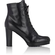 Barneys New York Lace-Up Platform Ankle Boots ($299) ❤ liked on Polyvore featuring shoes, boots, ankle booties, black, black booties, lace up platform booties, high heel ankle boots, lace up boots and lace up bootie