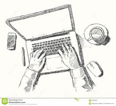 Sketch Hands Computer Man Office Top View Drawn Stock Vector - Image: 58509019