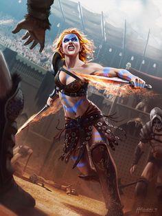 Hugh Pindur - Flame-haired barbarian gladiatrix
