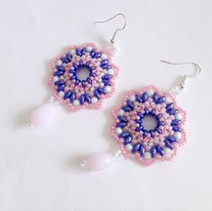 Pink and blue Blossom earrings by La pietra blu di Avalon