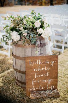 spring wedding country wedding ceremony ideas with wine barrels Wedding Ceremony Ideas, Wedding Table, Fall Wedding, Dream Wedding, Wedding Tips, Perfect Wedding, Wedding Hair, Wedding Ceremonies, Reception Ideas