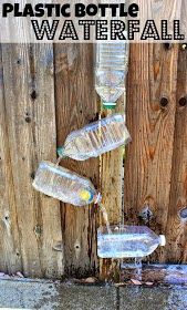 The Everyday Momma: {Think Outside the Toy Box} Plastic Pop Bottles: Waterfall Uses For Plastic Bottles, Plastic Pop, Plastic Bottle Crafts, Pop Bottle Crafts, Growing Ginger Indoors, Outdoor Fun For Kids, Water Walls, Pop Bottles, Toddler Fun