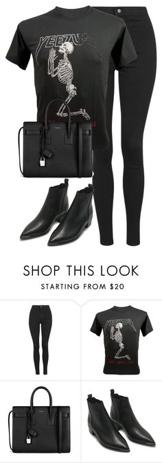 """""""Untitled #2682"""" by elenaday ❤ liked on Polyvore featuring Topshop, Yves Saint Laurent and Acne Studios"""