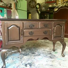 General Finishes Pearl Effects Furniture Update, Refurbished Furniture, Dining Room Furniture, Furniture Makeover, Painted Furniture, Diy Furniture, American Paint Company, Sliding Room Dividers, General Finishes