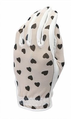 Black & White Hearts (LH Only) Evertan Ladies Designer Golf Gloves! Find more awesome golf accessories at #lorisgolfshoppe