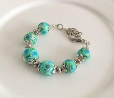 Blue green flower  bracelet, beaded bracelet, beadwork bracelet, beaded   jewelry, bead weaving