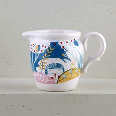 "Lechera Ilustrada   Vajilla de cerámica de diseño ""Amor Astral"" por Ana Sanfelippo    Illustrated Creamer   Ceramic designed tableware ""Astral Love"" by Ana Sanfelippo"