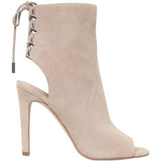 Kendall+kylie Women 100mm Meadow Suede Open Toe Boots ($245) ❤ liked on Polyvore featuring shoes, boots, sand, laced up boots, lace up boots, high heel boots, lace up high heel boots and open-toe boots