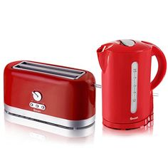 Swan Red Cordless Electric 1.7L Jug Kettle And 4 Slice Long Slot...