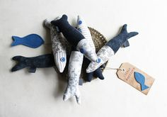 Six little sardines Fabric fishes Home decoration by Intres, $38.00