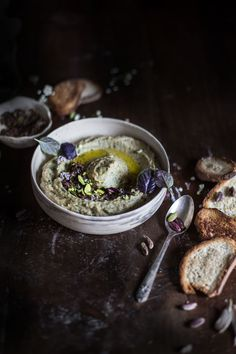 Lupini Bean (or chickpea) & Shallot Baba Ghanoush with Mint Olive Caviar {Gluten-free, Vegan, High Protein} | Hortus Natural Cooking