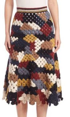 Rosetta Getty Patchwork Crochet Skirt In Multicolor Crochet Skirt Outfit, Black Crochet Dress, Crochet Skirts, Crochet Cardigan, Crochet Clothes, Hand Crochet, Knit Crochet, Rosetta Getty, Skirt Outfits