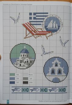 Gallery.ru / Фото #16 - Douce Mediterrane - Ulka1104 Mini Cross Stitch, Cross Stitch Borders, Cross Stitching, Cross Stitch Patterns, Greek Pattern, Cross Stitch Magazines, Summer Crafts, Pixel Art, Embroidery Patterns