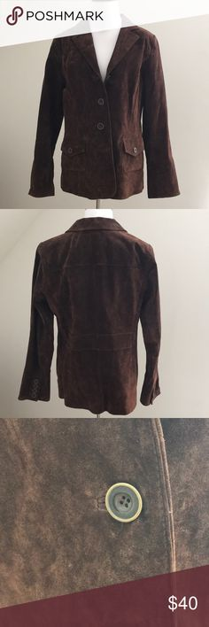 Washable suede blazer style jacket Rich brown washable suede with button flap pockets, princess seaming and beautiful detailing. Worn once ... wasn't the proper fit. Like new! dennis basso Jackets & Coats Blazers