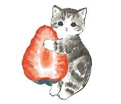 by mofusand Kawaii Art, Kawaii Anime, Kitten Drawing, Dibujos Cute, Cute Animal Drawings, Black Veil Brides, Cute Illustration, Cute Stickers, Cat Art