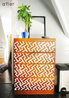 Use reverse stenciling to highlight natural wood | 99 Clever Ways To Transform A Boring Dresser