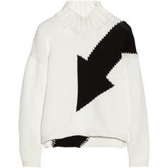 McQ Alexander McQueen Arrow-intarsia cotton-blend turtleneck sweater (£120) ❤ liked on Polyvore featuring tops, sweaters, jumpers, shirts, white, petite shirts, boxy sweater, turtle neck sweater, petite turtleneck sweaters and white shirt