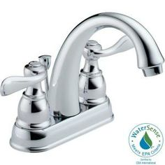 Traditional 4 in. Centerset 2-Handle High-Arc Bathroom Faucet in Chrome-25996LF at The Home Depot