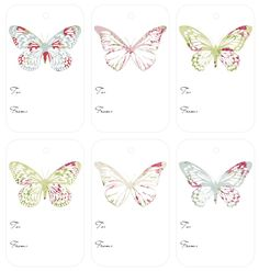 Vintage Butterflies Gift Tags