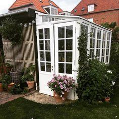 Genbyg @genbyg En af vores kunder har fremsendt et par billeder med forårsstemning. De har forvandlet et par gamle sprossevinduer, en terrassedør og et par stilladsdæk til et charmerende drivhus i haven. Gør-det-selv, når det er bedst:) #genbyg #genbygdesign #genbrug #bæredygtighed #gørdetselv #have #drivhus - Cezy