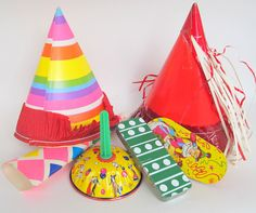 Vintage Party Decoration Lot 6 Party Items Hats by teresatudor, $12.99