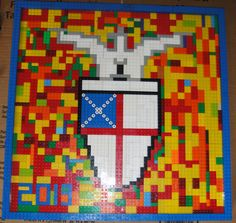 Lego Mosaic of school logo for school auction project.