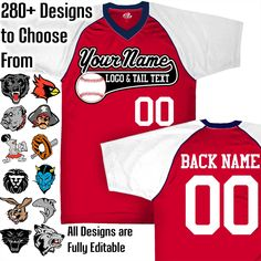 Scarlet Red, White and Navy Blue Customizable Baseball Jersey with Your Team, Player Name and Numbers Custom Baseball Logo Purple And Black, Grey And White, Navy Blue, Baseball Jerseys, Baseball Guys, Team Mascots, Custom Football, Royal Red, Team Names
