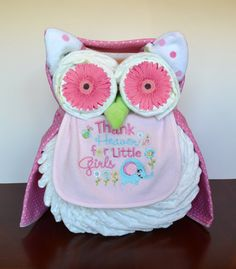Owl Diaper Cake -have to make one of these too!  Good thing I have lots of friends having babies!