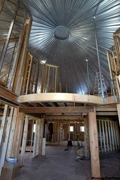 Luv the way the ceilings in these old converted grain silos look.