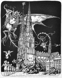 A church Hans Arnold style! Creepy Horror, Sci Fi Horror, Creepy Art, Scary, Work In Sweden, Comic Poster, Illustration Artists, Surreal Art, Adult Coloring