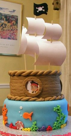 Jolly Roger Cake Decorations Perfect or and Ahoy it/'s a boy or Buccaneer theme Fondant Treasure Map Fondant Pirate Baby Shower Cake Topper