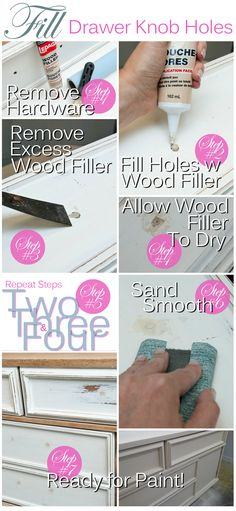 Salvaged Inspirations | Easy Tutorial on How to Fill Furniture Knob Holes Seamlessly