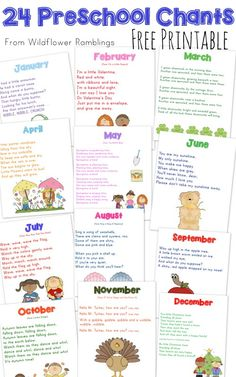 Chants by Month {free printable!} from Wildflower Preschool Chants by Month {free printable!} from Wildflower RamblingsPreschool Chants by Month {free printable!} from Wildflower Preschool Chants by Month {free printable!} from Wildflower Ramblings Preschool Music, Preschool At Home, Preschool Lessons, Preschool Kindergarten, Preschool Learning, Preschool Activities, Preschool Themes By Month, Preschool Transitions, Free Preschool