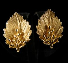 BSK Signed Earrings Gold Tone Leaves Clip On   eBay