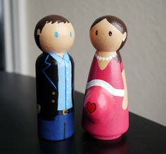 Expectant Couple Wooden Peg Doll Cake Topper