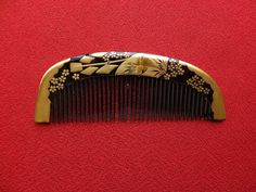 Excellent Vintage Japanese Lacquerware Hair Comb Makie 3 | eBay