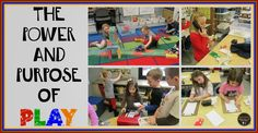 The Power and Purpose of PLAY! Wonderful post with lots of great ideas for combining purposeful learning opportunities in play based learning centers in Kindergarten Centers, Teaching Kindergarten, Learning Centers, Kids Learning, Inquiry Based Learning, Project Based Learning, Preschool Curriculum, Preschool Classroom, Preschool Schedule