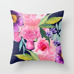 Buy Floral blue Throw Pillow by craftberrybush. Worldwide shipping available at Society6.com. Just one of millions of high quality products available.
